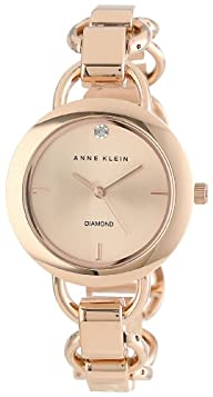 Anne Klein Women's AK/1384RGRG Diamond Dial Rose Gold-Tone Open Link Bracelet Watch