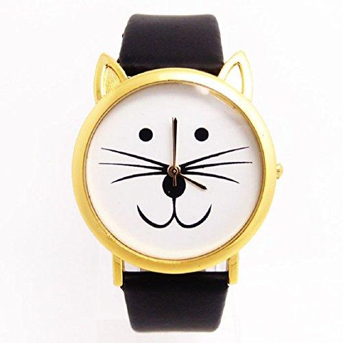 Zps(Tm) 1Pc Fashion Women And Men Lovely Cats Face Faux Leather Quartz Watch (Black)