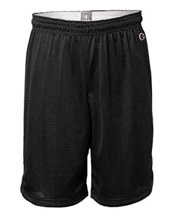 Champion Men's Full Athletic Fit Mesh Shorts, Black, Medium