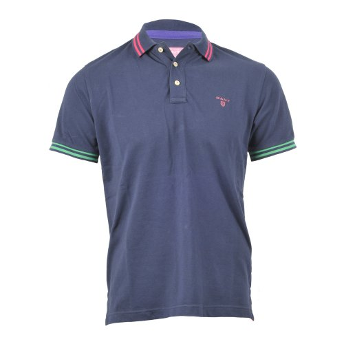 GANT Polo Contrast Tipping Pique Rugger Navy Blue S/S 212125 Manica Corta (M, BLUE)