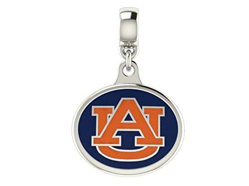 Auburn Tigers Sterling Silver Enamel Drop Charm Fits European Style Beaded Charm Bracelets
