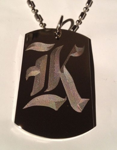 Letter K Old English Font Initial - Military Dog Tag, Luggage Tag Key Chain Metal Chain Necklace front-718267