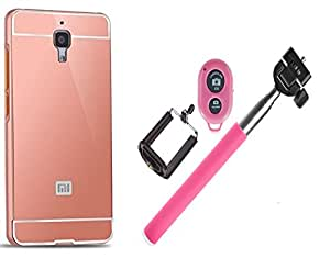 Novo Style Back Cover Case with Bumper Frame Case for Xiaomi Redmi Note 4G  Rose Gold + Selfie Stick with Adjustable Phone Holder and Bluetooth Wireless Remote Shutter