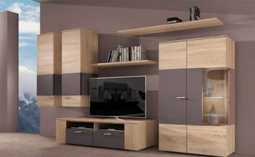 wohnwand anbauwand sonoma eiche braun mit led beleuchtung. Black Bedroom Furniture Sets. Home Design Ideas