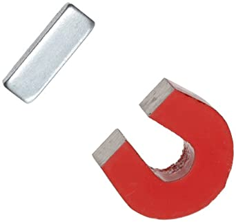 "Red Cast Alnico 5 Horseshoe Magnet With Keeper, 1.133"" Wide, 1"" High, 0.318"" Thick (Pack of 1)"