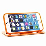 for iPhone 6 Case Cover,Nancy's Shop iPhone 6 (4.7) leather,iPhone 6 leather case,iPhone 6 leather,Two Windows Design leather with stand case cover for iPhone 6 (4.7) (2014)- (Orange-Apple Iphone 6 4.7 Nancy's Shop Case cover)