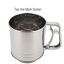 Cooking Classic Stainless Steel Flour Sifter,5-cup,two Fine Mesh Screen