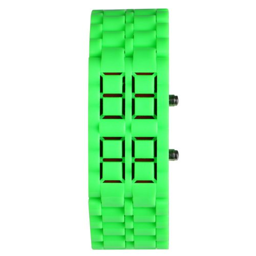 Yesurprise Color Storm MEN Lava Sport Date Day Digital Display Red LED Watch Green