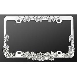 Chrome Metal Car License Plate Frame Roses