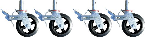 "A Set of 4 Wheel 8"" Caster with Cast Iron Hub 1 3/8"" Caster Wheel With 2 Lock-in Brakes Scaffolding Rolling Tower CBM1290"