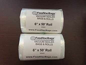 2 - 6x50' Vacuum Sealer Bag Roll Commercial Grade FoodSaver Type by FoodVacBags