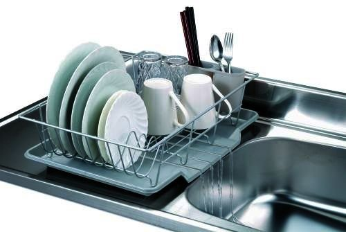 Home Basics 3-Piece Dish Drainer Set, Silver