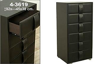DonRegaloWeb - Mueble cajonera de polipiel con 6 cajones decorado en color marrón
