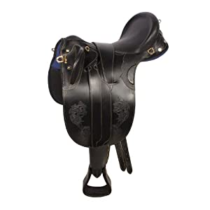 """New Oil Outback Leather Australian Aussie Stock Saddle Package (Black, 18"""")"""