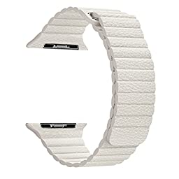 Apple Watch Band - FanTEK Soft Leather Loop Magnet Lock Replacement iWatch Strap for Apple Wrist Watch 38mm Models (White)
