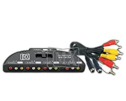 MX 4 WAY AUDIO VIDEO SELECTOR WITH 3 RCA PLUG TO 3 RCA PLUG & 4 PIN MINI DIN TO MX 4 PIN MINI DIN CORD mx -1917A