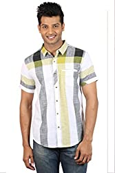 Le Tailor Men's Slim Fit Casual Checkered Shirt (SLCHS109,White & Yellow)
