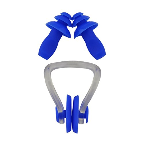 #DoYourSwimming Naso clip pad morbido + tappi orecchie da nuoto / »Squeeze« Ear-plug / nose-clip, Top-Quality, perfect fit, ideal for competition, training, water sports and leisure. Ergonomically shaped plugs and clips made of durable Long-Life-Silicone, reusable. Colour blue