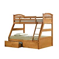 Oak Finished Hardwood Triple Sleeper Bunk Bed with Storage Drawers
