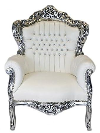 Casa Padrino Barock Sessel King Weiss Lederoptik / Silber mit Bling Bling Glitzersteinen - Lounge Möbel
