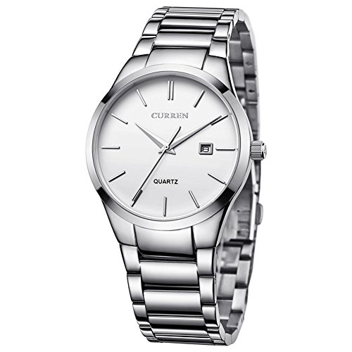 Voeons Men's Watches Auto Date Analog Silver Stainless steel Strap Casual Watch (Men Steel Watch compare prices)