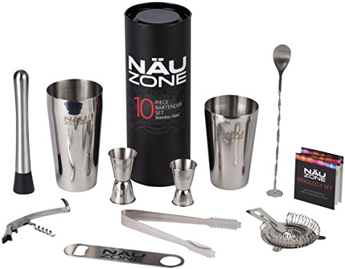 NÄU Zone Bartender Kit: Premium Boston Shaker Bar Set (Drink Mixing compare prices)