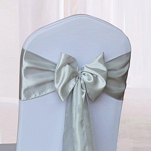 10PCS 17X275CM Satin Chair Bow Sash Wedding Reception Banquet Decoration Multicolor (#20 Light Gray)