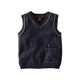 Tea Collection Little Boys' Perfect Pocket Vest Jacket, Indigo, 10