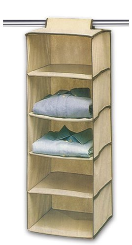 Ziz Home Hanging Clothes Storage Box (5 Shelving Units) Durable Accessory Shelves - Eco- Friendly Closet Cubby, Sweater & Handbag Organizer - Keep Your Wardrobe Clean & Tidy. Easy Mount, Ideal for all Clothing Types