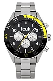 French Connection Men's Quartz Watch with Black Dial Chronograph Display and Silver Stainless Steel Bracelet FC1115B