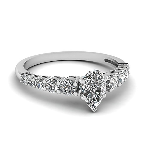 Fascinating Diamonds 1.10 Ct Pear Shaped Diamond Engagement Ring Pave Set Cut:Very Good 14K Gia