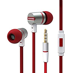 Tennmak Dulcimer Metal Housing In-ear Earbuds Noise Isolating Headphones Crystal Clear Sound Earphones with Mic and Remote for iPhone, iPod, iPad, Samsung, Android Cell Phones, MP3 Player ( Red)