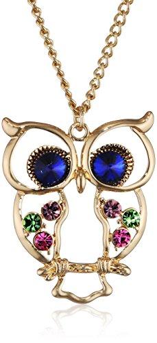 Le Premium® - alta qualità catena lunga collana con pendente colorato ala gufo in cristallo occhio blu zaffiro, placcato oro