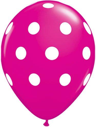 12 Hot Pink Dot Polka Dot Balloons - Made in USA