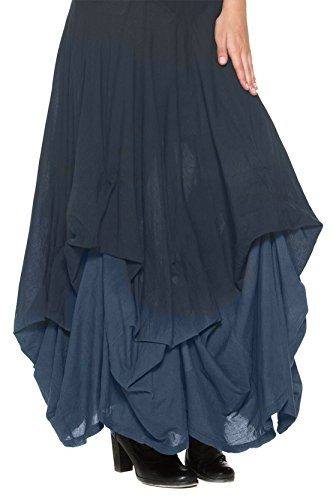 Womens-Blue-Ombre-Victorian-Country-Gypsy-Bustle-Petticoat-Long-Pick-Up-Skirt