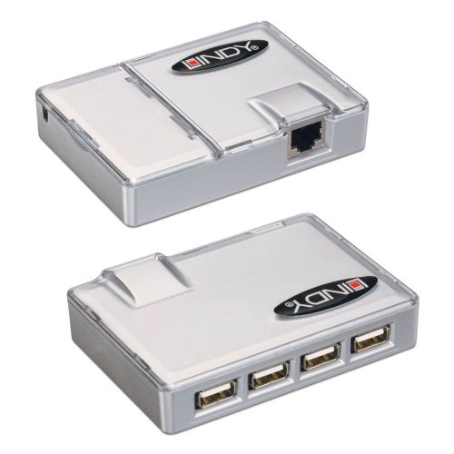 LINDY USB Extension - CAT5 USB Extender with 4 Port USB 1.1 Hub