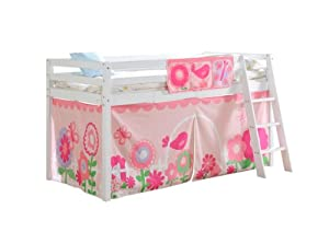 Cabin Bed & Mattress in White with Tent FLORAL 578WG FLORAL+MATTRESS
