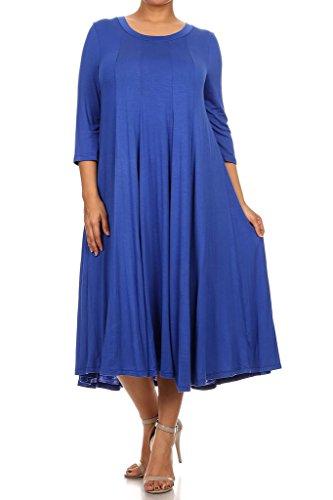 Modern Kiwi Long Sleeve Flowy Maxi Plus Size Dress Royal 4X