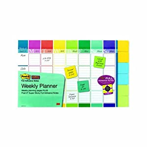 Post-it Notes Weekly Planner, 18 x 12-Inches, 52 Weeks with 6-Pads of 2 x 2-Inch Notes