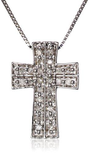 "10K White Gold Diamond Cross Pendant Necklace (1/10 Cttw, I-J Color, I2-I3 Clarity), 18"""