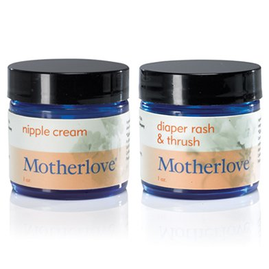 Motherlove Herbal Nipple Cream (1 oz) WITH Diaper Rash & Thrush Relief (1 oz) - 1
