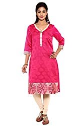 Aaboli Pink Chanderi Straight Long Kurta