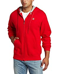 Champion Men's Full-zip Eco Fleece Jacket Hoodie, Crimson, Medium