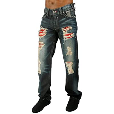 REMETEE by Affliction Rebellion Denim Distressed Mens Jeans at Amazon