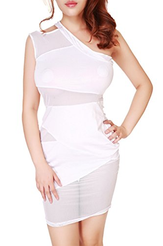 Am Clothes Womens Sexy Hollow One Shoulder Diamante Nightclub Dress With G-String (White) front-601929