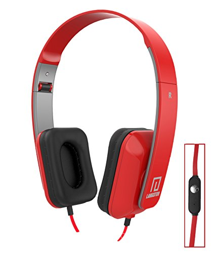 Langston ® Mediacom SmartPad 10.1 HD iPro111 / Mediacom SmartPad i10 3G Tablet Rot Deep Bass Faltbare HD Kopfhörer (iM-8) mit Mikrofon und Fernbedienung