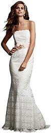 Wedding Dress Beaded Lace Sheath with Godet Inserts