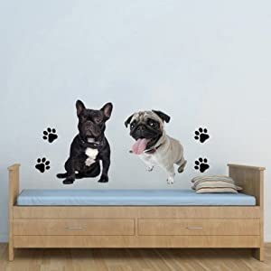 WSD40- STAFFY AND PUG DOG WALL STICKER SET. LARGE PEEL AND STICK REMOVABLE WALL DECALS.