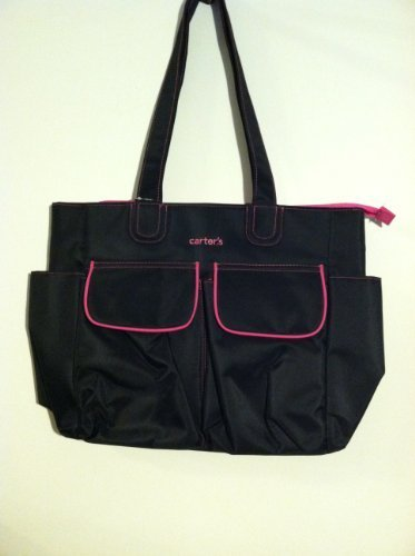 Carter's® Everyday Tote Antimicrobial Diaper Bag in Various Colors (Black with Hot Pink Stitching) - 1