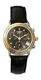 Krug Baumen Ladies Principle Diamond Gold, Black Dial, Black Strap Watch 150573DL